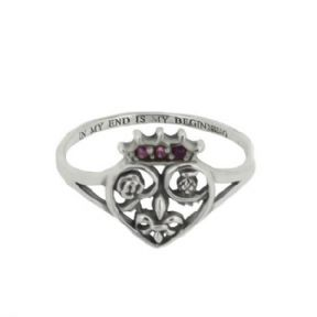 Mary Queen of Scots Silver Ring with Amethyst colour stones 9718